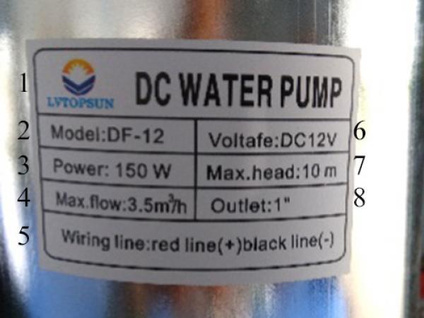Nameplate บนปั๊มน้ำไดโว่โซล่าเซลล์( DC Water Pump ) บอกอะไรเราบ้าง